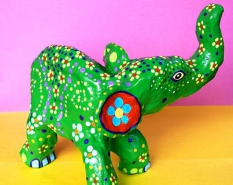 Green Elephant - Oaxacan inspired Sculpture