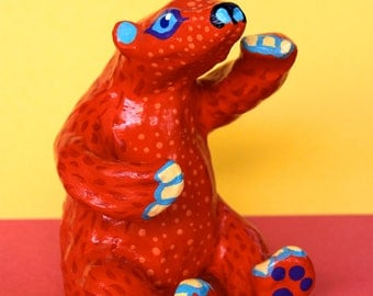 Red and Orange Bear - Oaxacan Inspired Clay Sculpture