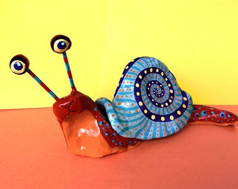 Large Snail Sculpture - Mexican Inspired Clay Sculpture (Oaxacan)