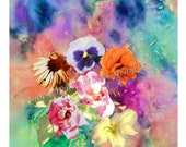 """Mixed Media Floral Print of a Painting by Gippy Henry, 8"""" x 10"""" Lumira Print on Fuji Crystal Archival Paper"""