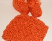 Deep Peach Bay Hat and Bottie Set
