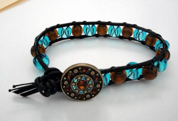 Black Leather Wrap Bracelet with Vintage Style Button