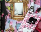 Pink Rhinestoned Bling Barbie iPhone case for 4/4s. FREE SHIPPING.