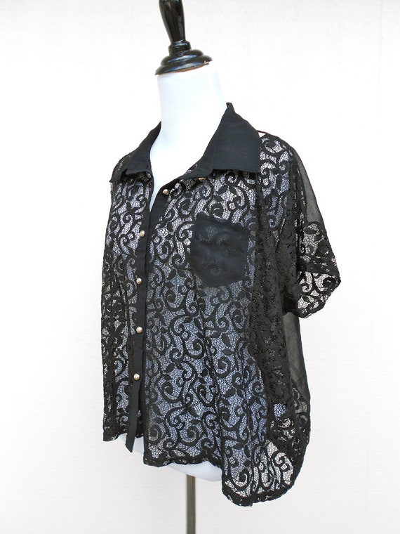 lace with polyester insert button up