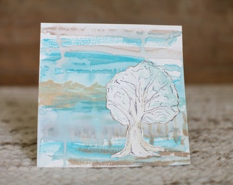 8x8 Abstract Landscape with Tree