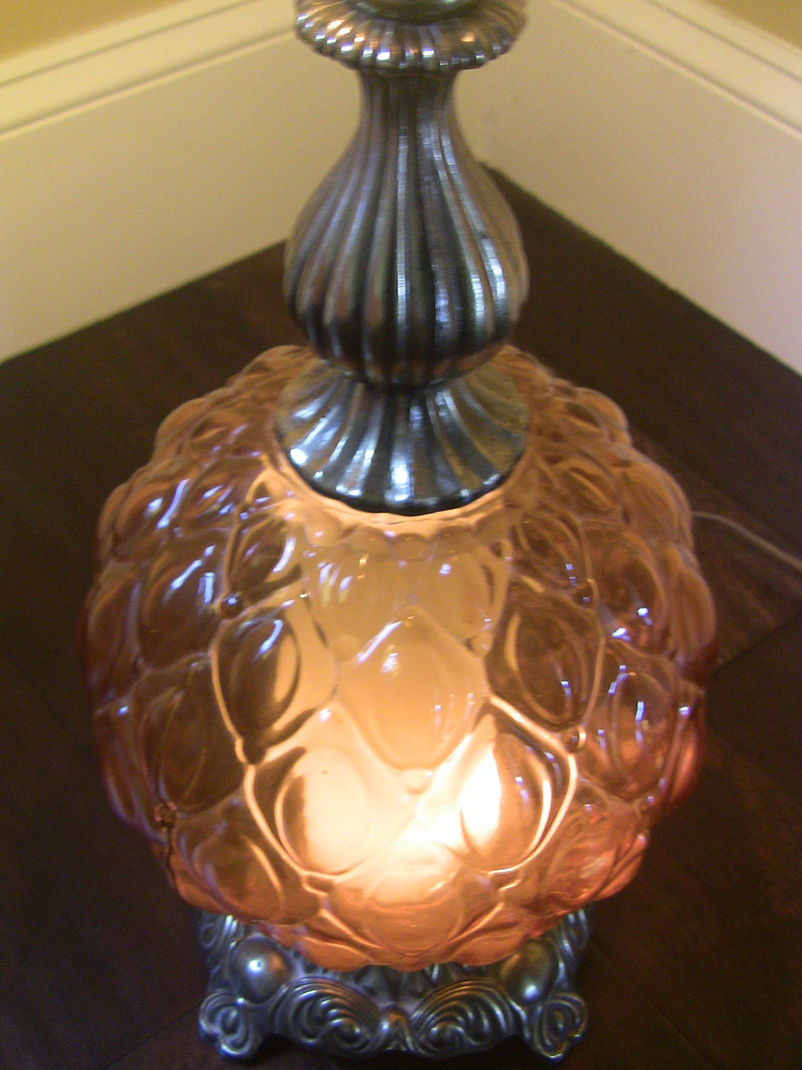 beautiful amber glass table lamp vintage amber glass dome. Black Bedroom Furniture Sets. Home Design Ideas