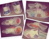 Hand Painted Adventure time shoes (head shots) Made to Order