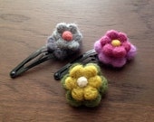 Baby Girl Hair Clip: Needle-felted Flower