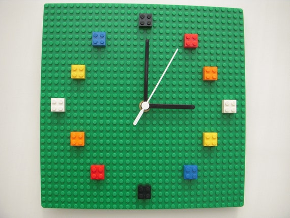 Multicolour Lego 174 Bricks And Baseplate Wall Clock