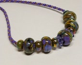 Set - Tanzanite, Copper and Sage Kumihimo Necklace with Lampwork Beads and Matching Earrings SRAJD 3520 LETeam