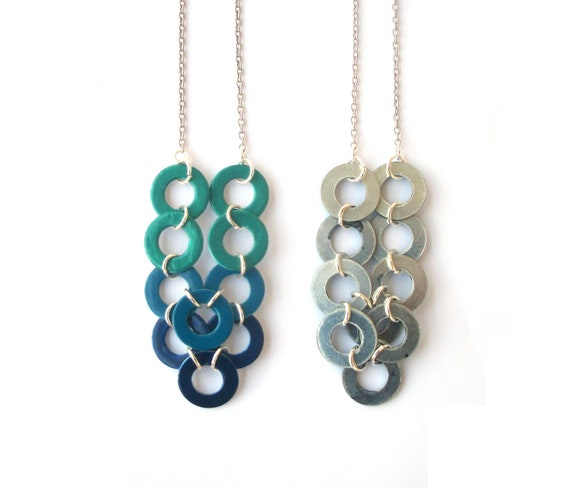 Ombre Geometric Necklace - Hand Painted Blue to Teal Washer Industrial Fashion Necklace