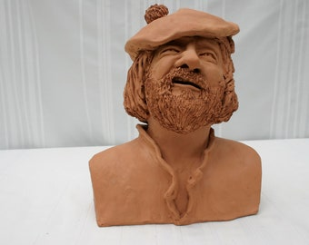 Bagpiper with hat -TerraCotta  ceramic (fired clay) sculpture / Zsuzsa Miny