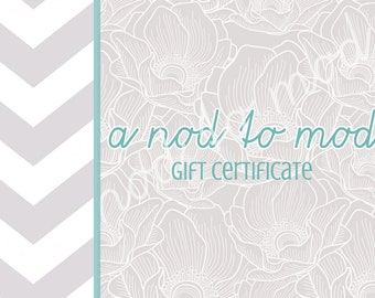a nod to mod, gift certificate, baby gift certificate, shop certificate, baby shower gift
