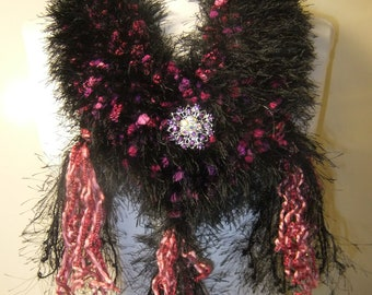 Black and Magenta loop scarf knit crochet infinity scarf