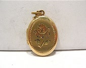 Gold Filled Locket Oval Colorized Rose 15 x 20 mm  2.7 grams  #83