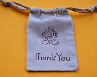 Monkey Party Favor Bags / Set of 10 / Birthday Favors