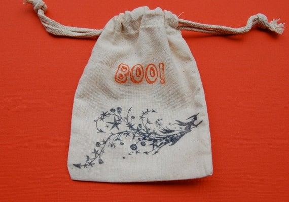 Halloween Muslin Favor Bags / Set of 10