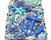 Under the Sea Handmade Decoden Kawaii iPhone 4 / 4s Case w/ Pearls, Rhinestones, Roses, Anchor, Dolphin, Seahorse, Starfish and Seashells