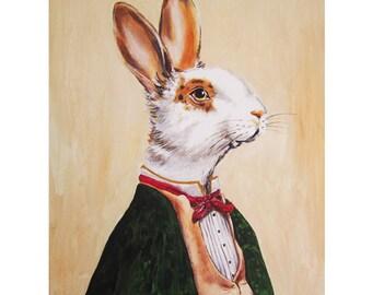 Rabbit Print, Rabbit Art Print, Rabbit Bunny Print, Rabbit Art, Bunny Print, Rabbit Wall Art, 8x10,Green, Women, Mister,Rabbit Artwork, Men