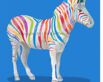Animal painting digital print portrait drawing illustration mixed media acrylic painting:  Rainbow Zebra