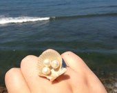 Orange Shell Ring, adjustable band, with three freshwater pearls