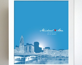 Housewarming Gift / Wichita Kansas Skyline Custom Gift / Special Date Art Poster / Free Shipping / Any Cityscape Available