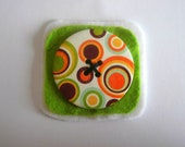 Cute handmade green, orange, white, circle felt button brooch