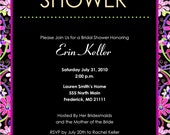 Floral Bridal Shower Invitation, 8.5 x 5.5, with Coordinating Recipe Card, DIY Printing