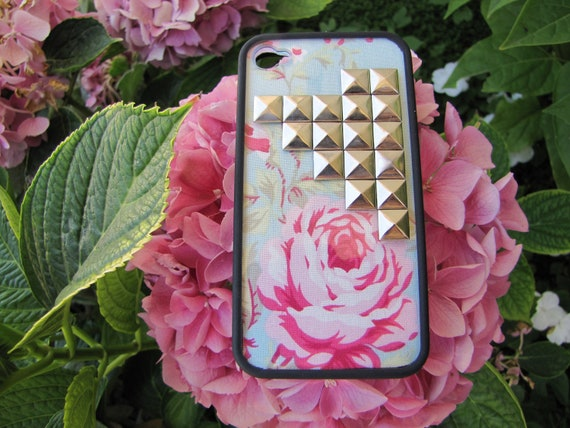 Blue Floral Studded iPhone 4 Case