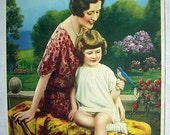Mother Daughter Bluebird Floral Garden 1934 Vintage Calendar Original Lithograph Art Print Home Decor Picture