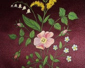 Silk Material Art Handpainted Cosmos Flower Lily Of The Valley Floral Design Original Antique Burgundy Silk Material Dates Late 1800s Art