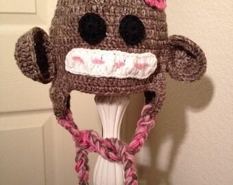 Sock Monkey Baby Girl Hat, baby, monkey, animal, girl, tassel, earflapped, photo prop. Please include SIZE in order