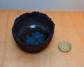 Mini Black Clay Blue Glass Filled Bowl