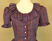 Vintage Plaid Ruffle Blouse / Prairie Short Sleeve Shirt