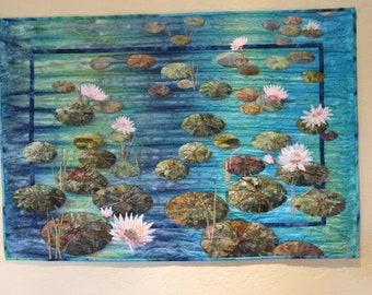 Appliqued Art quilt - Pond Symphony