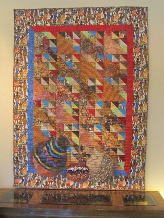 "Art Quilt- African theme- ""Market Day"""