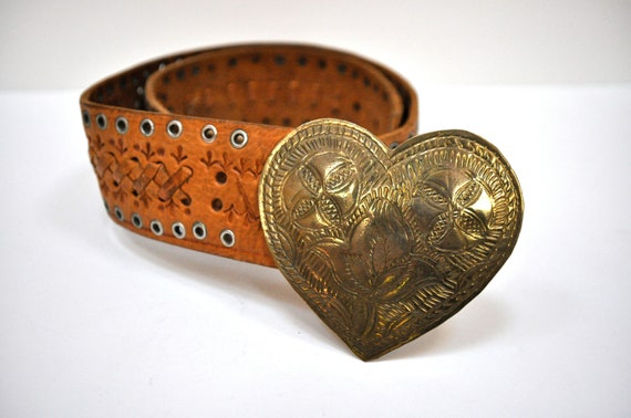 Brutalist Style Leather Studded Belt with Brass Heart Buckle Mexico 1970's