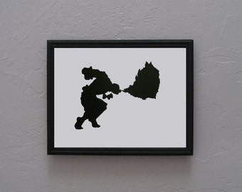 Dhalsim Street Fighter  Hand cut paper art black silhouette paper cutting