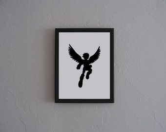 Kid Icarus  Hand cut paper art black silhouette paper cutting
