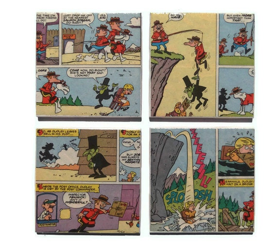 Dudley Do-Right Coasters / Vintage Comic Book Ceramic Tiles Rocky and Bullwinkle