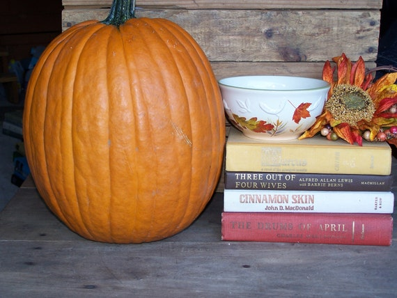 vintage fall brown rust pumpkin  mustard book collection bundle display for home decor photo props shabby cottage antique