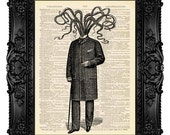 CTHULHU Victorian Gothic Decor Funny Office Decor Necronomicon HP Lovecraft Steampunk Octopus Decor Surreal Art Gift for Geek Wall Art 47