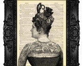 Victorian Tattooed Woman - ORIGINAL ARTWORK - Dictionary Art Print Vintage Upcycled Book Page no.41