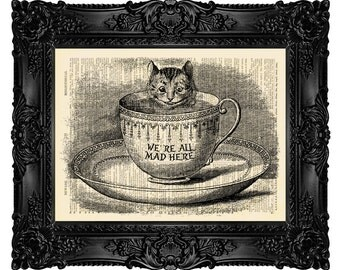 CHESHIRE CAT Coworker Gift Alice in Wonderland Print On Vintage Dictionary Page We Are All Mad Here 104