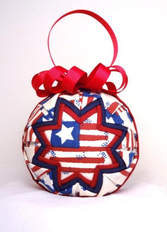 American flag quilted ornament patriotic q