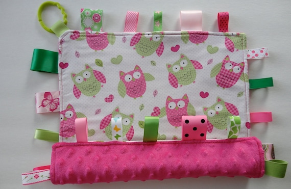 Baby 100% Cotton Owl & Heart Print And Super Soft Hot Pink Minky, Ribbon Security Blanket.
