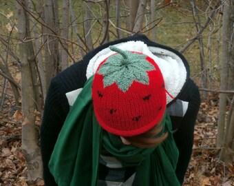 Handknit Strawberry Hat