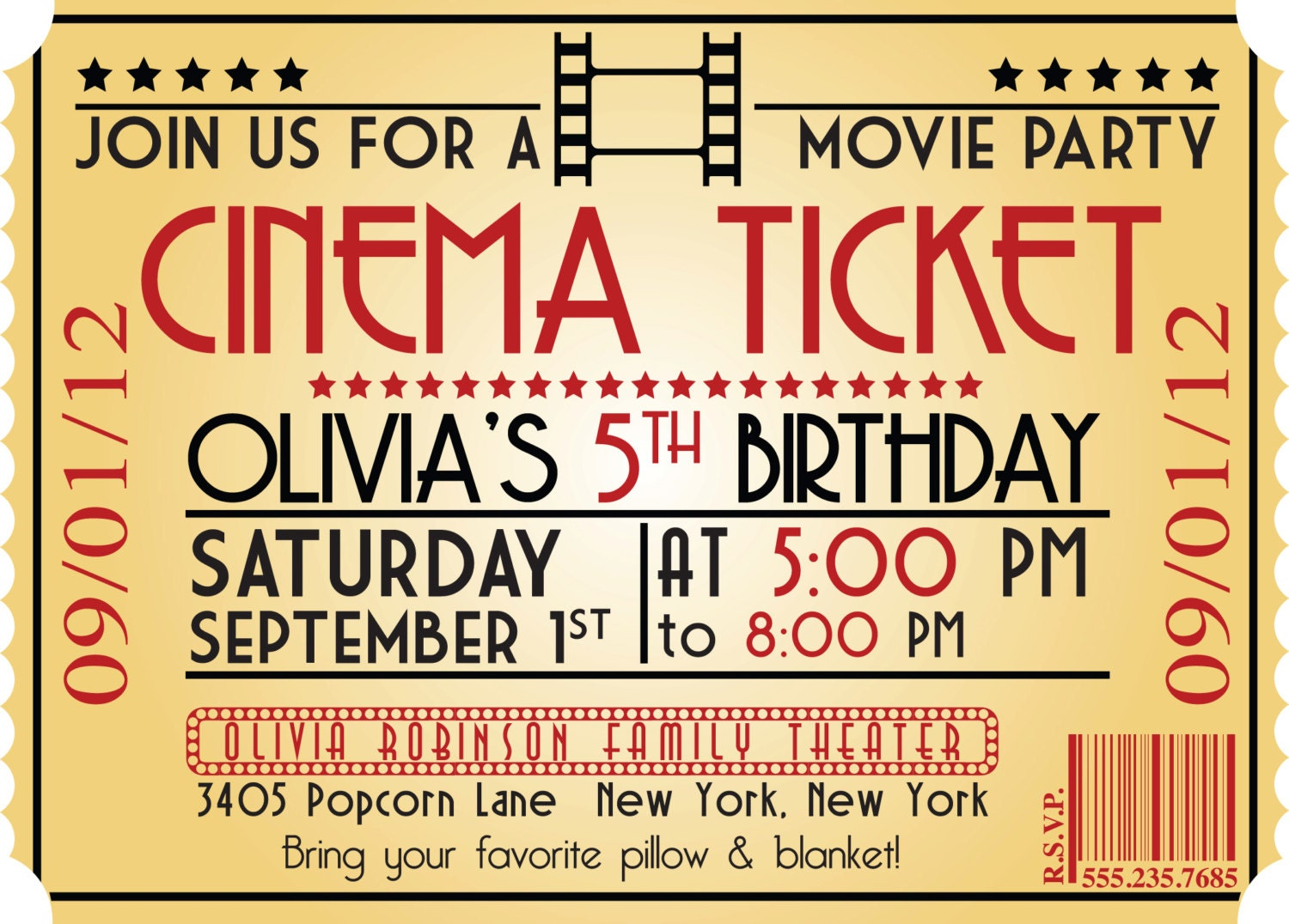 28 Movie Themed Invitation Template Movie Night Party Whisk