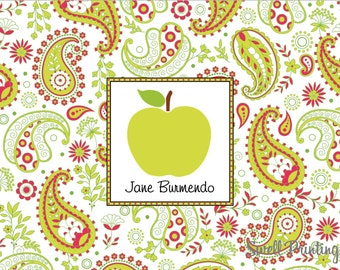 10 Personalized Apple Thank you Notecards Apple note cards Paisley note cards