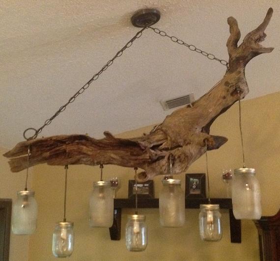 Items Similar To Driftwood Mason Jar Chandelier On Etsy